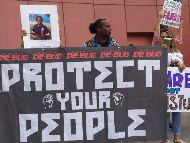 Demonstrators banners during a protest in ...