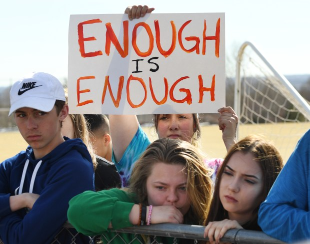 Students at Columbine High School participate in Wednesday's nationwide school walkout in protest of gun violence.