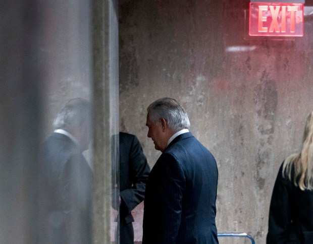 Secretary of State Rex Tillerson leaves after speaking at a news conference at the State Department in Washington on Tuesday. President Donald Trump fired Tillerson and said he would nominate CIA Director Mike Pompeo to replace him.