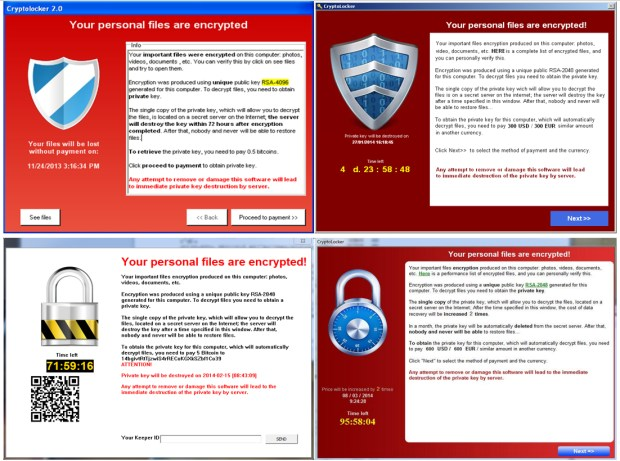 Versions of CryptoLocker ransomware notify computer users that their files have been encrypted and locked. Users are instructed to pay bitcoin to get the files back. But Webroot and other security companies warn that not all ransomware actually returns the files intact so check with security companies who will know the reputation of those hackers. (Images provided by Webroot)