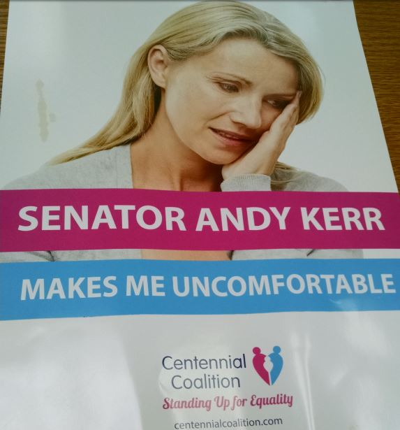 An image of a mailer sent by Centennial Coalition against Democratic Sen. Andy Kerr in the 2014 election.