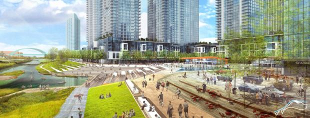 A concept drawing of how new buildings and parks in the River Mile project could be oriented toward the South Platte River.