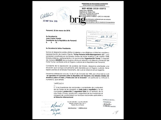 "This photo shows a scanned copy of page one of a three-page letter dated March 22, 2018, and addressed to Panama's President Juan Carlos Varela from lawyers representing U.S. President Donald Trump's family hotel business. The letter asks Varela to intervene with the court on behalf of the Trump Organization in its fight to continue running a luxury waterfront hotel, complaining that Panama's courts denied the organization due process in violation of a bilateral treaty and warning there could be consequences for the country. The letter from the Trump Organization to the Panamanian President ""URGENTLY request(s) your influence in relation to a commercial dispute involving Trump Hotel aired before Panama's judiciary."""
