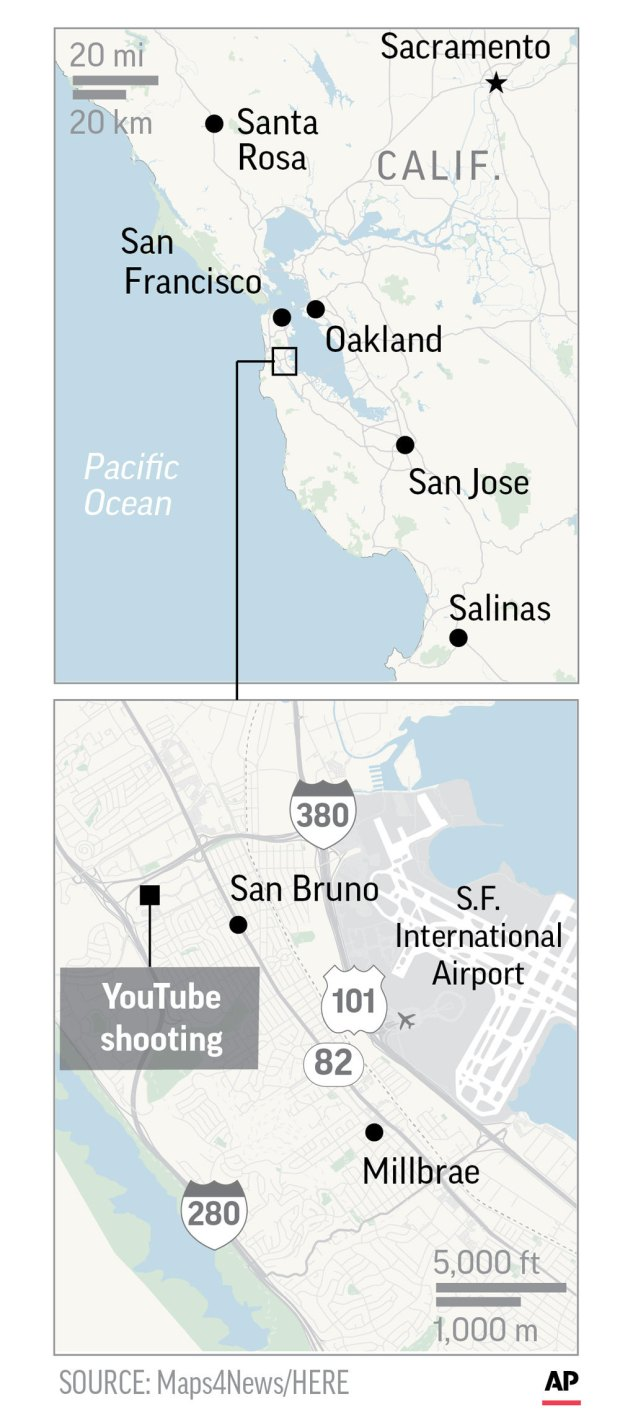 Graphic shows location of YouTube shooting in San Bruno, California.