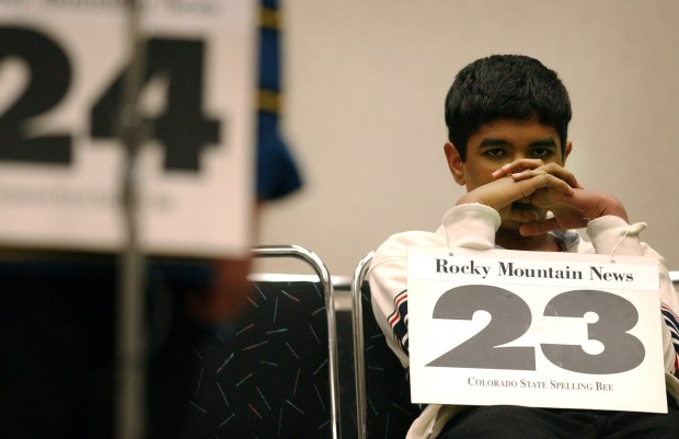 Pratyush Buddiga, 7th grade of Mountain Ridge Middle School, is waiting his turn in the final of 2002 Spelling Bee at Colorado Convetion Center on Saturday. Buddiga won the championship.