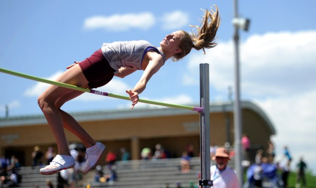 Silver Creek senior Rylee Anderson competes in the 2018 Class 4A girls state high jumping championship at Jeffco Stadium. Anderson won her fourth straight title.