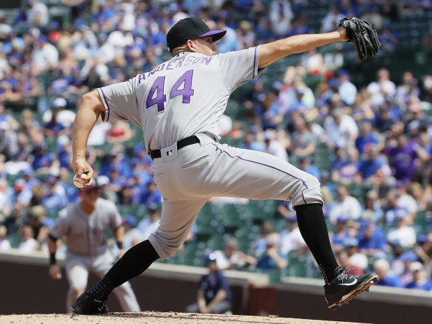 Starting pitcher Tyler Anderson of the Colorado Rockies delivers the ball against the Chicago Cubs at Wrigley Field on May 2, 2018 in Chicago, Illinois.