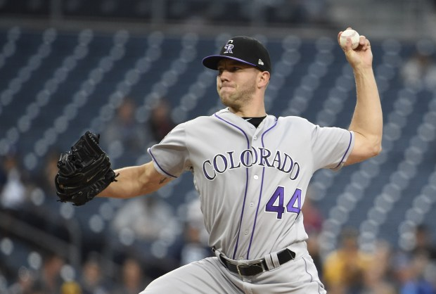 Tyler Anderson #44 of the Colorado Rockies pitches during the first inning of a baseball game against the San Diego Padres at PETCO Park on May 14, 2018 in San Diego, California.