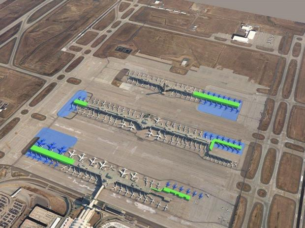 An overhead view of Denver International Airport's concourses shows where new gates are planned: 12 on the west end of Concourse A, 4 on the west end of Concourse B, 7 on the east end of B and 16 on the east end of Concourse C. Also shown are a half-dozen temporary ground gates added recently to the east end of Concourse A.
