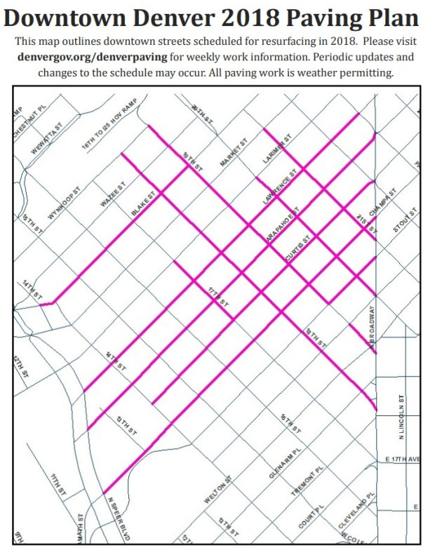 Denver Public Works' 2018 summer repaving plan for downtown streets.