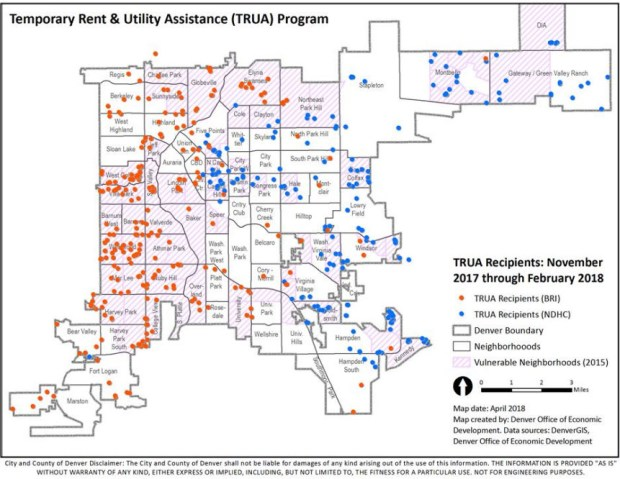 A map shown as part of a presentation to a City Council committee on a Denver rent and utility assistance program shows where the pilot phase's beneficiaries lived.