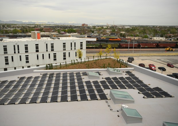The Flight office building, at 3575 Ringsby Court in Denver, has included a green roof in its design. Photographed on May 9, 2018.