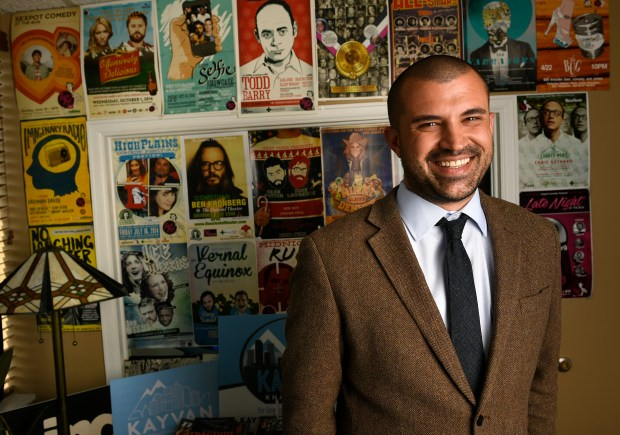 Kayvan Khalatbari, who is a candidate for Denver Mayor in 2019, stands for a portrait in his office at Denver Relief Consulting on May 23, 2018 in Denver, Colorado. This is an early look, just under one year before Denver's May 2019 mayoral election, at the candidates who have already filed to take on Michael Hancock in his bid for a third term. Khalatbari is putting together 8 policy pods as a platform for his campaign and for being mayor. These pods include housing, transportation, environment, equity and opportunity, education and youth, immigration, government transparency and accountability and public safety. (Photo by Helen H. Richardson/The Denver Post)