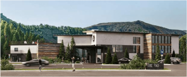 This architectural rendering produced by Smith Design Company shows the entrance to The Pad, a planned boutique hotel that will come with some hostel-style accommodations, along the Blue River in downtown Silverthorne. Last week, Silverthorne Town Council approved the developer's final site plan.