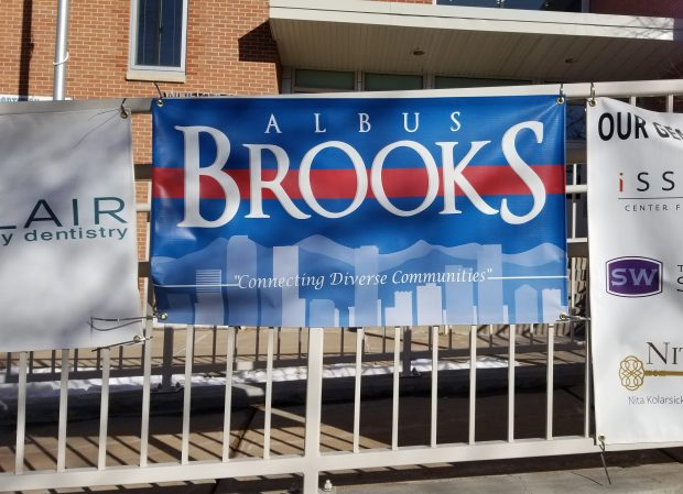 This banner was displayed outside Whittier Elementary School in February after Denver City Councilman Albus Brooks donated $500 to the school's PTA fundraiser using council funds.