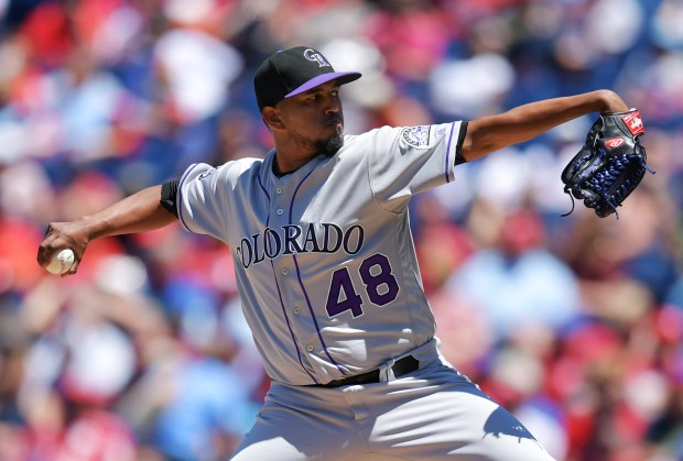 Starting pitcher German Marquez #48 of the Colorado Rockies deliver a pitch in the second inning against the Philadelphia Phillies at Citizens Bank Park on June 14, 2018 in Philadelphia, Pennsylvania.