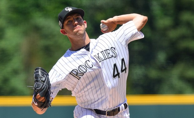 Tyler Anderson #44 of the Colorado Rockies pitches against the Miami Marlins in the first inning of a game at Coors Field on June 23, 2018 in Denver, Colorado. The Rockies remain the only team in the National League that has used just five starting pitchers this season.
