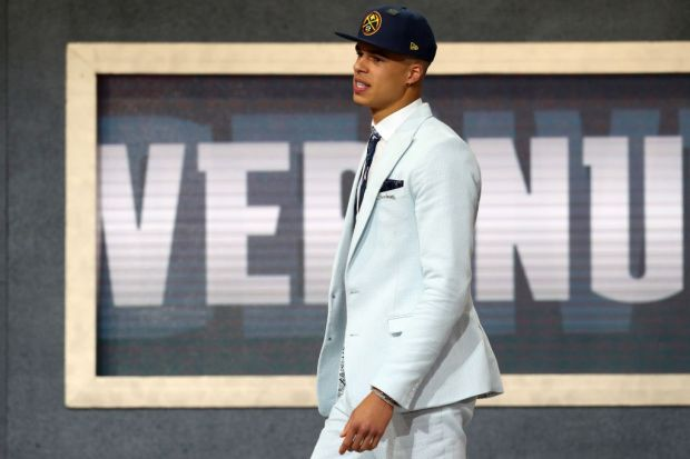 Michael Porter Jr. reacts after being drafted 14th overall by the Denver Nuggets during the 2018 NBA Draft at the Barclays Center on June 21, 2018 in the Brooklyn borough of New York City.
