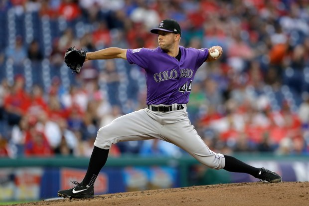 Colorado Rockies' Tyler Anderson pitches during ...