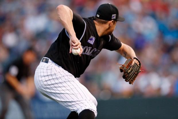 Colorado Rockies relief pitcher Bryan Shaw ...