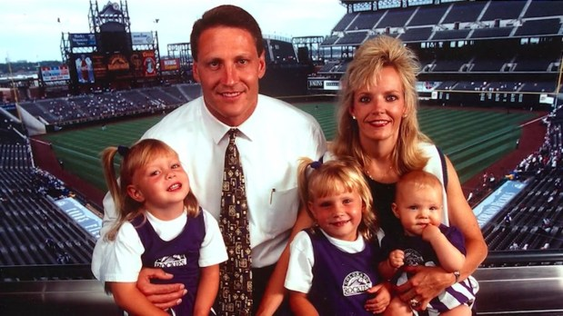 A family picture at Coors Field in 1997. From left to right: Taylor McGregor, Keli McGregor, Jordan Goergen (McGregor), Lori McGregor and Landri McGregor.