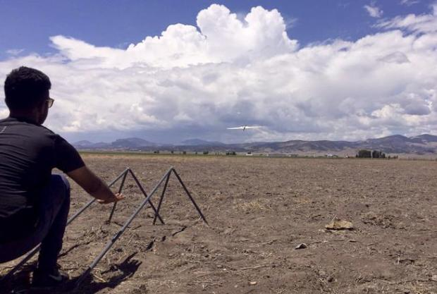 A DataHawk drone takes to the sky to measure convective development during the International Society for Atmospheric Research using Remotely Piloted Aircraft Flight Week ongoing this week in the San Luis Valley.