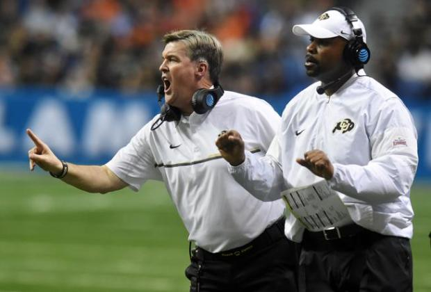 A federal judge has dismissed a lawsuit against University of Colorado Head Football Coach Mike MacIntyre (left) and other CU officials filed by the woman who accused former Buffs assistant coach Joe Tumpkin (right) of domestic violence.