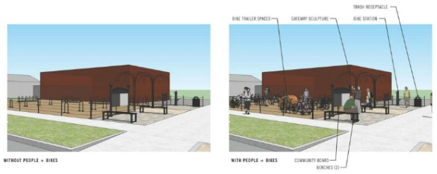 A rendering of the planned bike plaza.