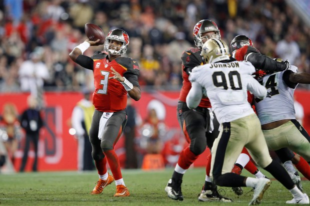 Jameis Winston (3) of the Tampa Bay Buccaneers throws a pass against the New Orleans Saints in the fourth quarter of a game at Raymond James Stadium on Dec. 31, 2017 in Tampa, Fla. The Buccaneers won 31-24.