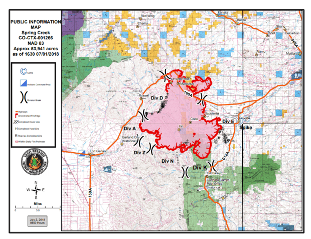 A map of the Spring Creek fire.
