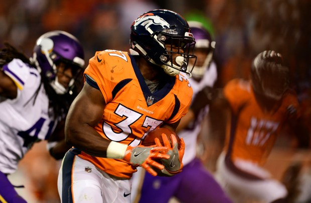 Denver Broncos running back Royce Freeman ...