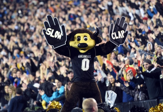 Chip does the slow clap during the NCAA football game between Colorado and Washington at Folsom Field on Sept. 23, 2017.