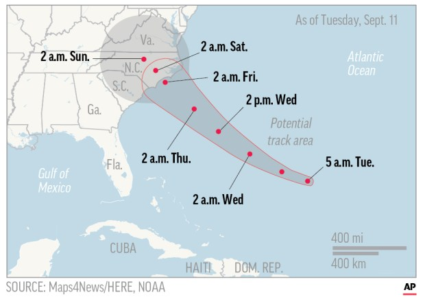 Map shows probable path of Hurricane ...
