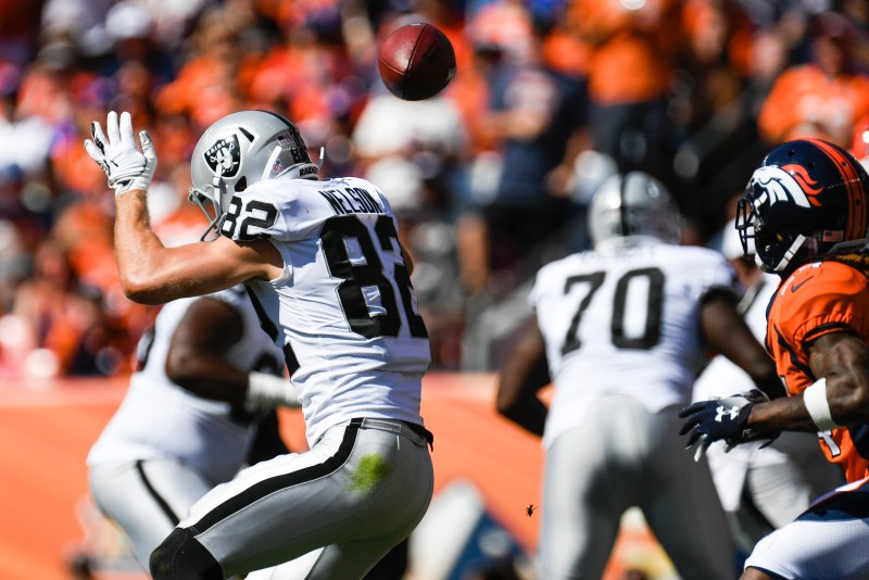 Jordy Nelson (82) of the Oakland Raiders cannot find the pass from Derek Carr (4) against the Denver Broncos during the first quarter on Sunday, September 16, 2017. The Denver Broncos hosted the Oakland Raiders.
