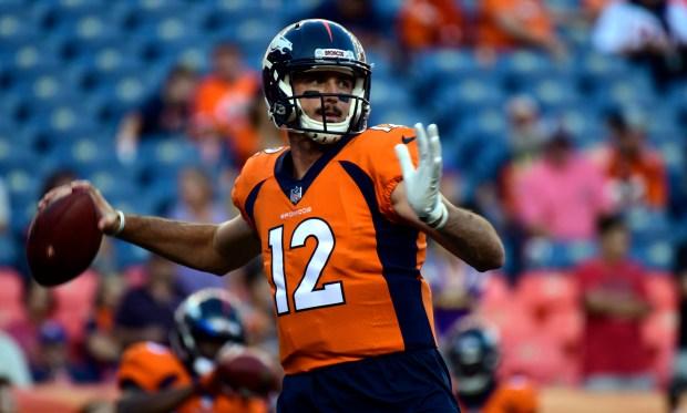 Denver Broncos quarterback Paxton Lynch (12) ...