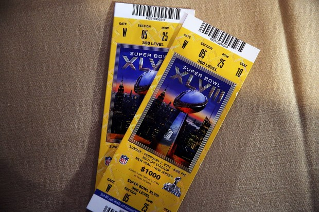 Authentic game tickets are viewed at a news conference on the latest seizure of counterfeit sports-related merchandise leading up to Super Bowl XLVIII on Jan. 30, 2014 in New York City.