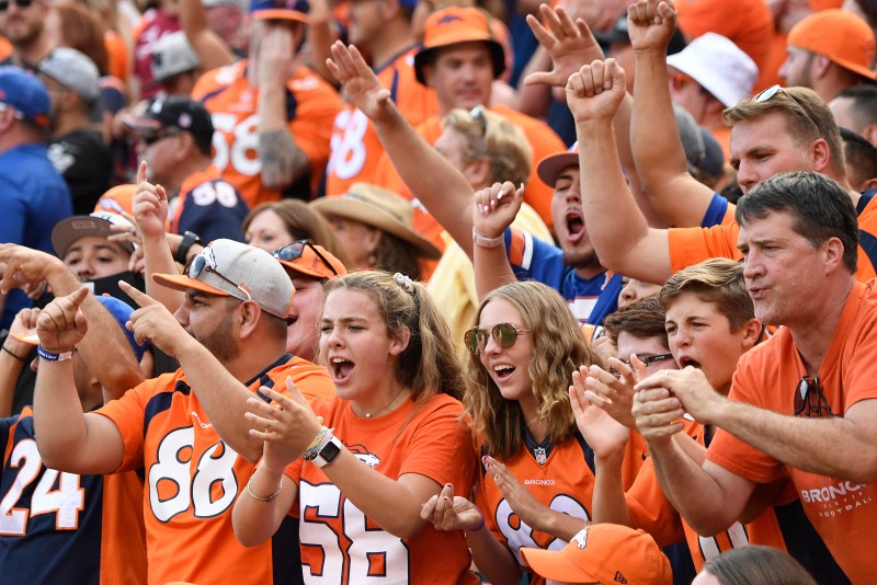 Denver Broncos fans cheer during the ...