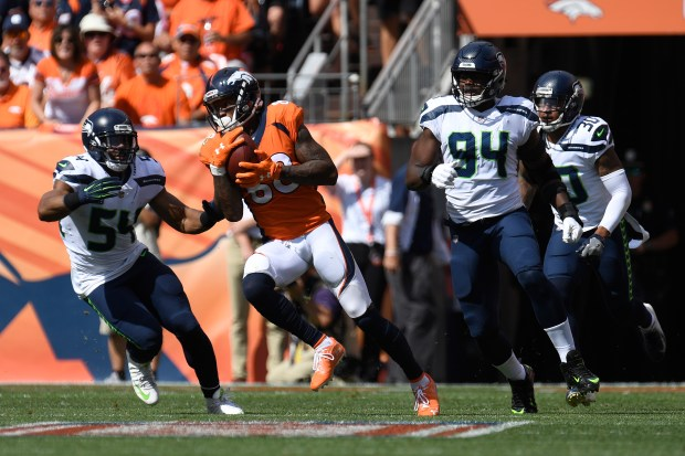 Demaryius Thomas (88) of the Denver Broncos runs after a catch during the first quarter against the Seattle Seahawks. The Denver Broncos hosted the Seattle Seahawks at Broncos Stadium at Mile High in Denver, Colorado on Sunday, September 9, 2018.
