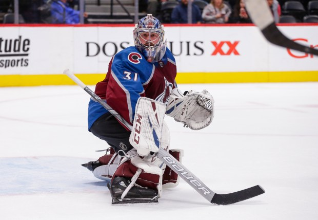 Colorado Avalanche goaltender Philipp Grubauer looks ...