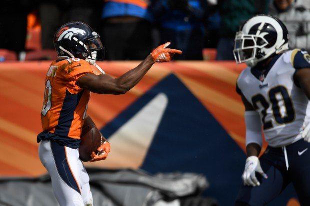 Emmanuel Sanders (10) of the Denver ...