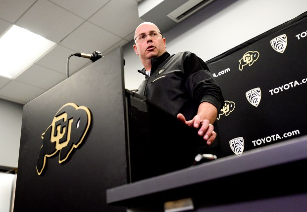 University of Colorado interim head football coach Kurt Roper speaks during a press conference at the Champions Center in Boulder on Nov. 17, 2018.