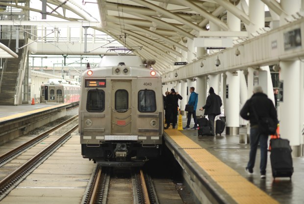People board the A-Line train at ...