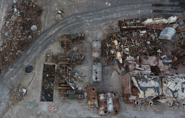 As seen from the air in this June 19, 2017 file photo, Demolition crews started demolishing the former Great Western Sugar Co. factory in Ovid.