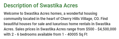 Swastika Acres description