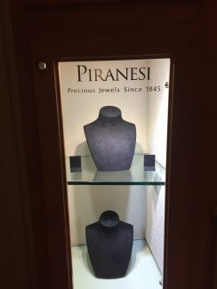 The Piranesi Jewelry case is empty Friday after three men stole gold and diamond jewelry from the display case near the front door of The Little Nell hotel in Aspen.