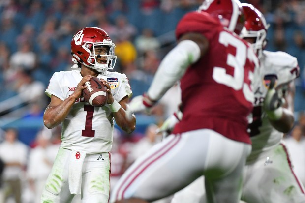 Kyler Murray of the Oklahoma Sooners looks to pass in the fourth quarter during the College Football Playoff Semifinal against the Alabama Crimson Tide at the Capital One Orange Bowl at Hard Rock Stadium on Dec. 29, 2018 in Miami, Fla.