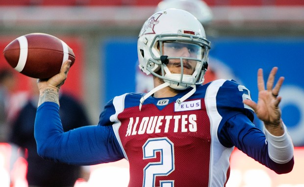 In this Friday, Sept. 14, 2018 file photo, Montreal Alouettes quarterback Johnny Manziel throws a pass during warmups before a CFL football game against the BC Lions in Montreal.