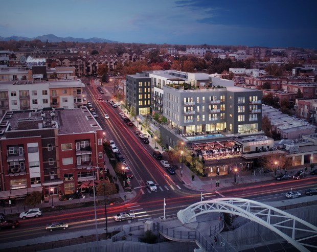 A rendering of Modera LoHi apartment building.