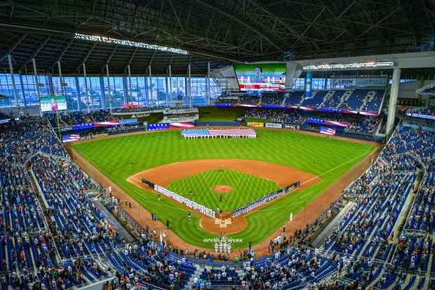 A general view of Marlins Park ...