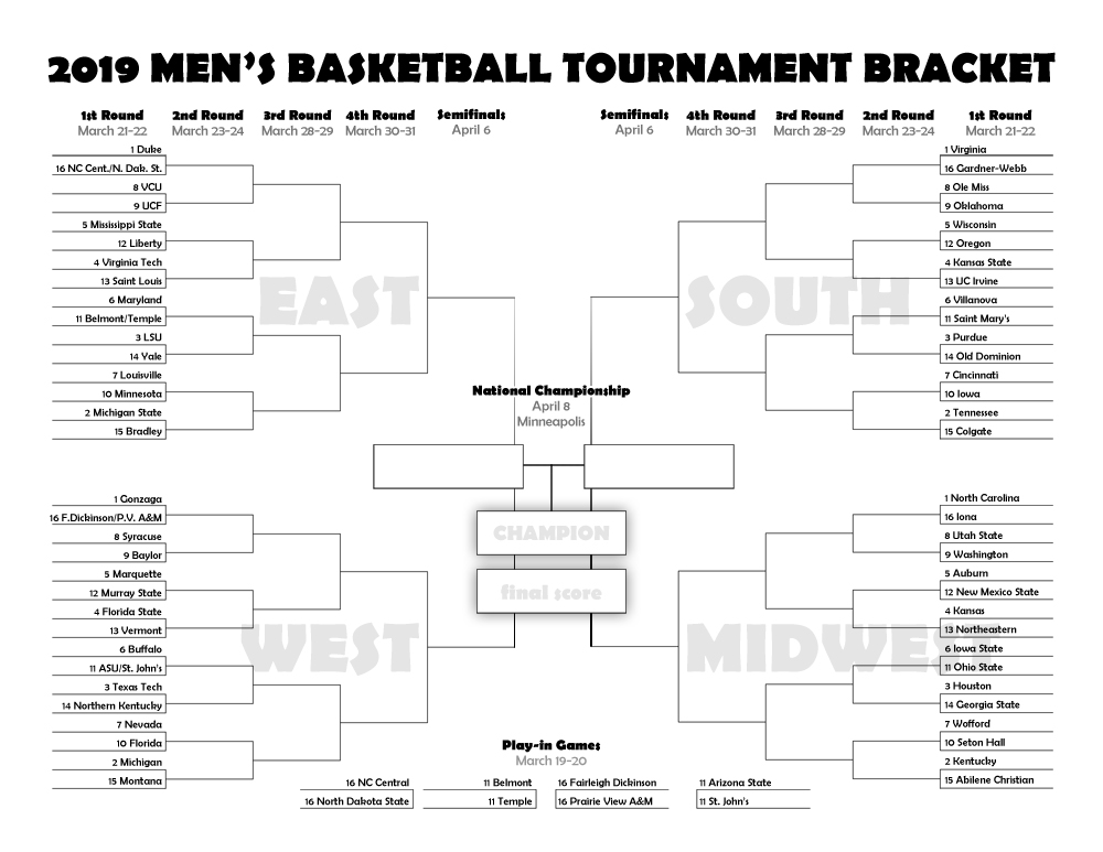photo relating to Printable Ncaa Bracket With Times and Channels identify March Insanity 2019: Printable bracket for the NCAA mens